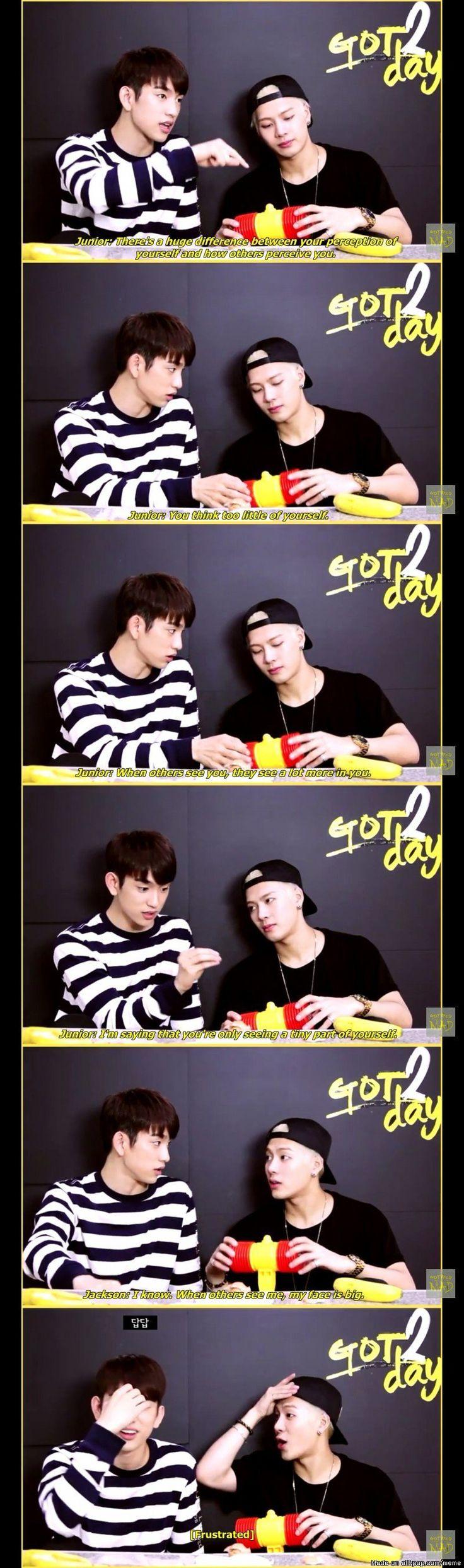 G O T 7 • Junior x Jackson • If I was Junior I'd get really pissed. Oh Jackson Hahaha #Got7 #JYP #Kpop