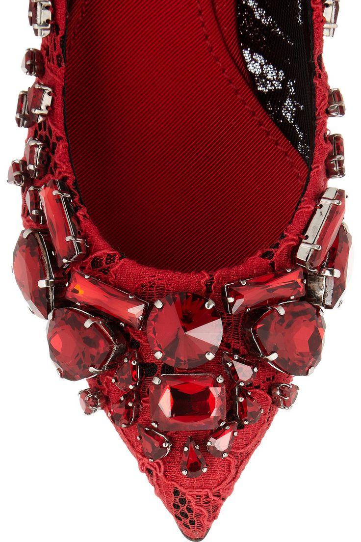 Dolce & Gabbana|Crystal-embellished lace pumps