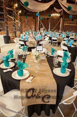 Barn Wedding Reception: Teal and Black Tablescape but diff colors..love the burlap runners