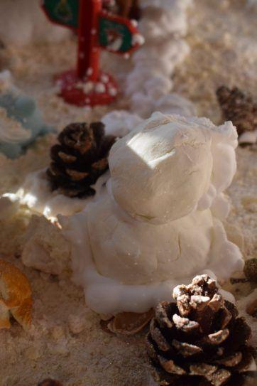Winter Wonderland Sensory Play - The Muddled Mum. Foam dough Santa and moon sand snow create the beautiful and fun messy play scene