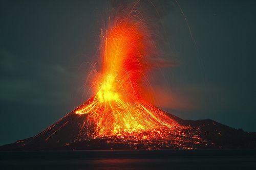 Vulcanian eruption from Anak Krakatau at night