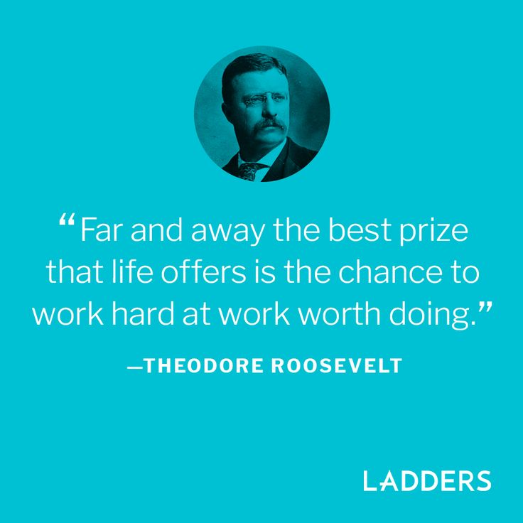 """Far and away the best prize that life offers is the chance to work hard at work worth doing."" - Theodore Roosevelt"