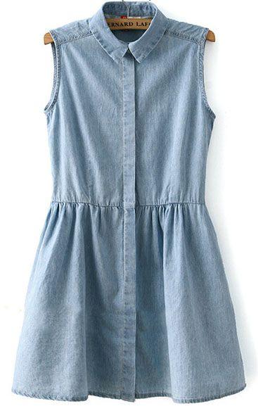 Vestido denim solapa plisado-azul claro 17.89