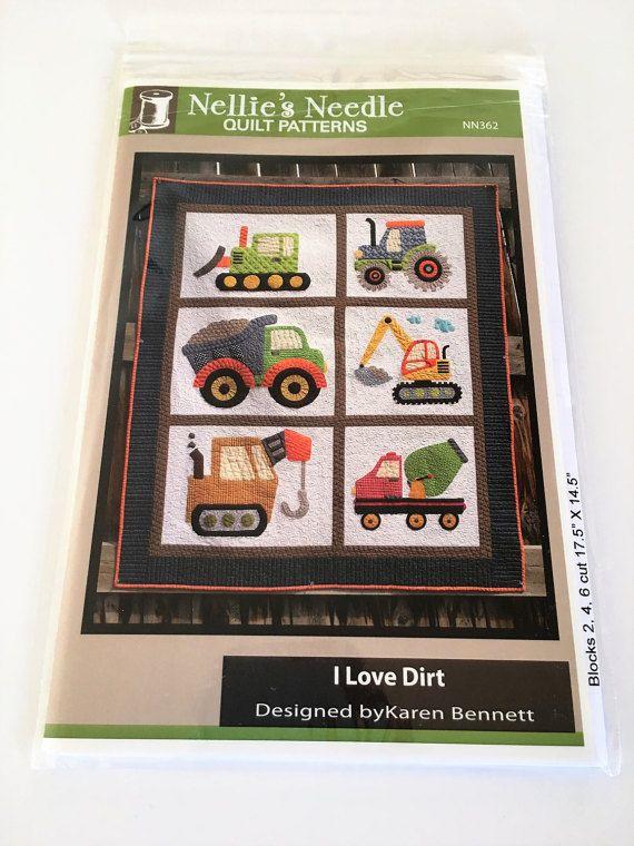 I love Dirt Nellie's Needle Quilt Pattern Truck Kids Tractor Quilt Pattern by Karen Bennett #NN362