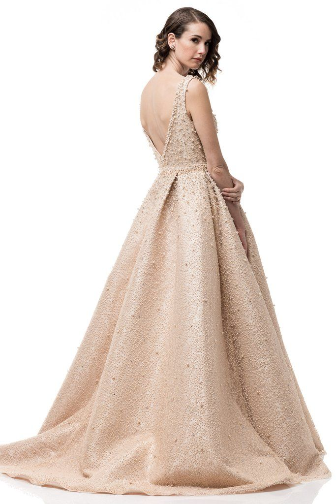 192f0f26cc5 High End Long Mikado Ball Gown with Pearls and Tulle Prom Dress – Frugal  Mughal