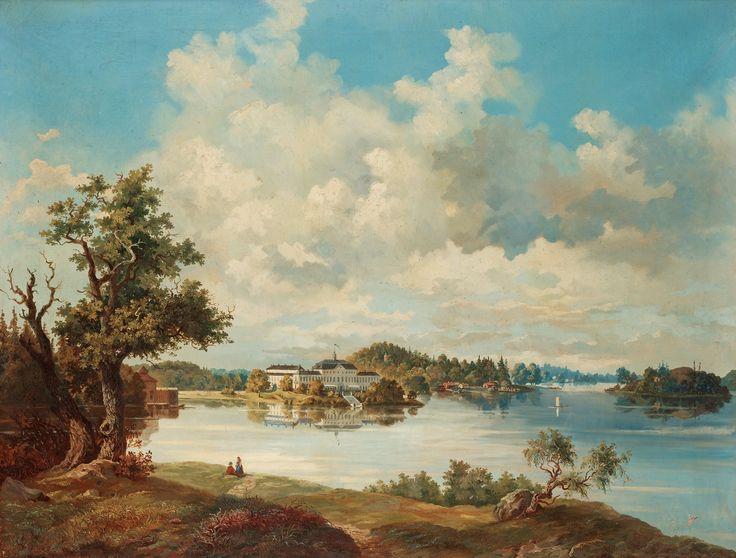 Ulriksdals slott från sjösidan. Signerad C.X och daterad -62. Duk 104 x 133,5 cm.