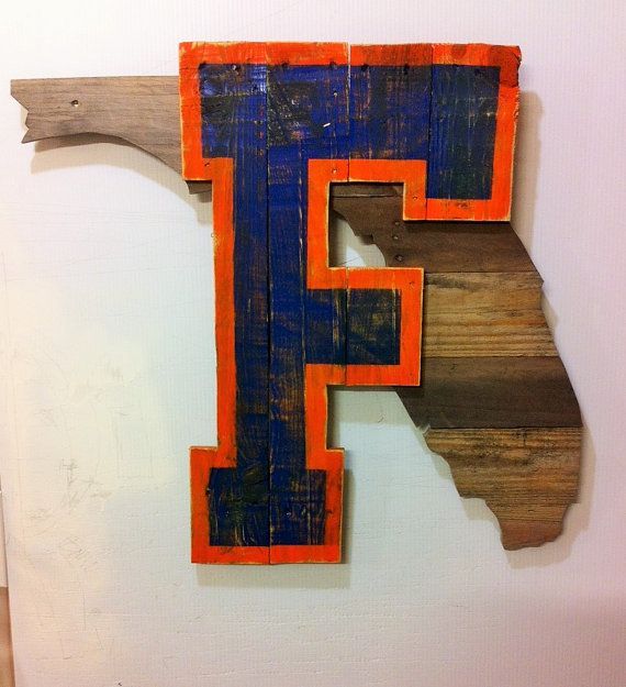 University of Florida F in the state of Florida. A fun and attractive piece of wall art every Gator fan should have in their home
