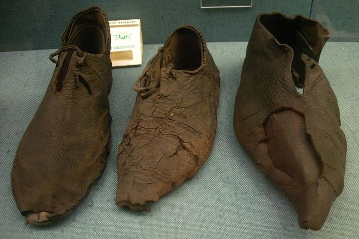 Viking era leather shoes, from an historical excavation in Denmark.