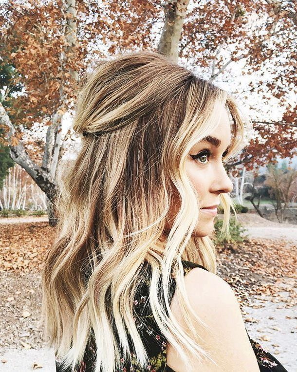 Lauren Conrad in a half-up do http://eroticwadewisdom.tumblr.com/post/157383594317/hairstyle-ideas-im-in-love-with-this-hair-color