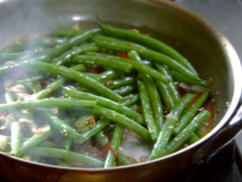 Sauteed Green Beans with Soy, Shallots, Ginger, Garlic and Chile recipe from Tyler Florence via Food Network