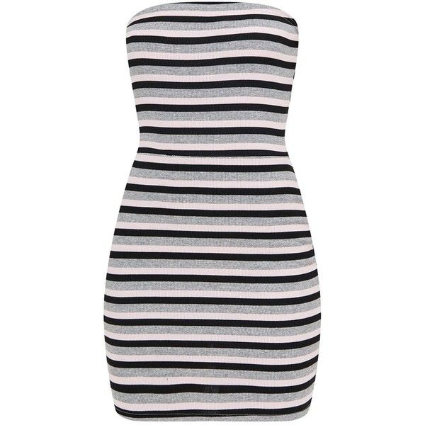 Grey Striped Bodycon Dress ($12) ❤ liked on Polyvore featuring dresses, body conscious dress, bodycon dress, striped dress, stripe dresses and grey dress