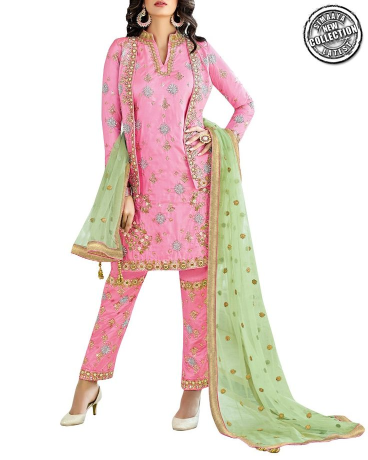 Manage To Look Effortlessly Stylish And Smart In This Designer Salwar Suit Online From Simaaya Fashions. Crafted With Rich Quality Art Silk, This Designer Suit Will Make You Look Charismatic . Grab this from - http://www.simaayafashions.com/designer-art-silk-suit-in-pink-sfzi9003  #simaayasale #designercollection #simaayafashions