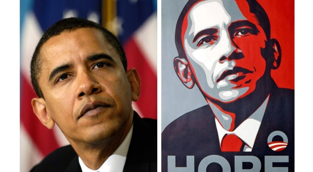 """""""If you call it art, is it still a crime?"""" article by Mike Bowers (respected photojournalist) on The Global Mail; (click photo for direct link to article)  image: AP Photo/Mannie Garcia/ Shepard Fairey"""
