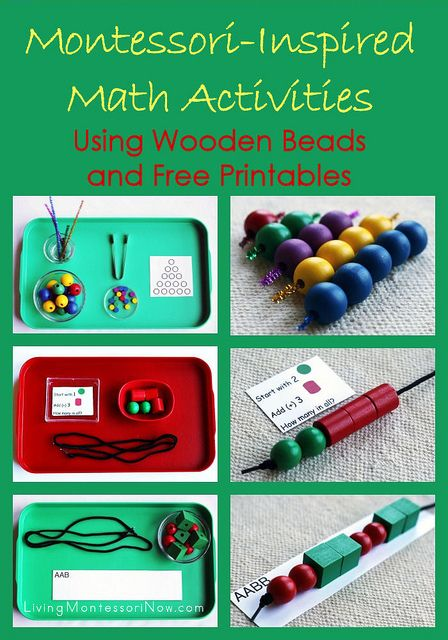 Montessori-Inspired Math Activities Using Wooden Beads and Free Printables - includes links to free printables for creating Montessori-inspired math activities for preschoolers and kindergarteners