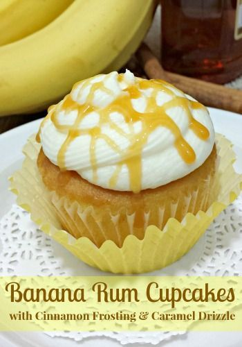 Bananan Rum Cupcakes (alcoholic and non-alcoholic) with a cinnamon frosting and caramel drizzle are a delicious addition to your cupcake recipe box!