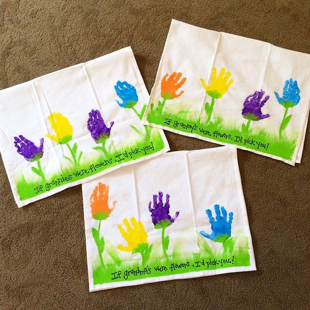 Mother's Day handprint flowers dish towels