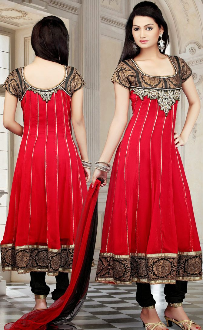 Red Anarkali Fashion Design In Readymade Pattern | @ $151.45 | Get It Here: http://www.sareegalaxy.com/pages/itemlarge.aspx?itemcode=KVD17M25822