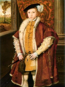 Edward VI, son of Henry VIII and Jane Seymour.Crowned at 9,he died at 15 of tuberculosis or pneumonia,and named Lady Jane Grey his (9 day) successor, ignoring both his half sisters. Although he only reigned for 6 years, he solidified the protestant religion in England that remained intact despite the efforts of his ultimate successor, the Catholic Queen Mary.