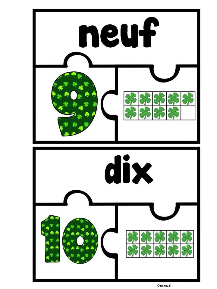 Free!!!! Saint Patrick's Day Themed Ten Frame Puzzles in French! Numbers 1 to 20.