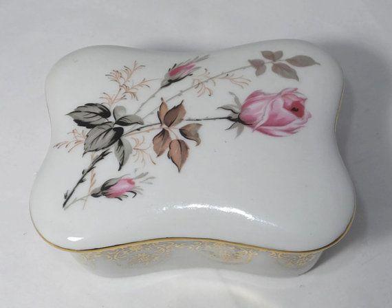 Vintage caja de la baratija de Limoges - aparador francés porcelana firmado con tapa o caja de vanidad, con rosa, mediados del siglo de oro