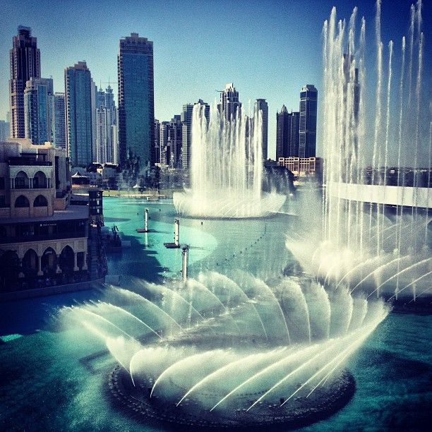 The Dubai Fountain the biggest water dancing fountain in the world view from dubai mall