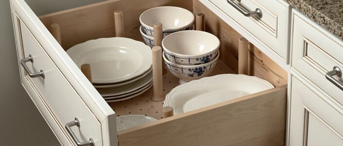 Drawer Plate Storage from Mid Continent Cabinetry
