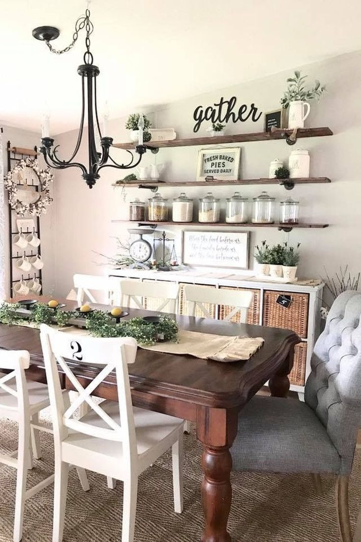 Table Floating Shelf Farmhouse Kitchen Furniture Interior Design