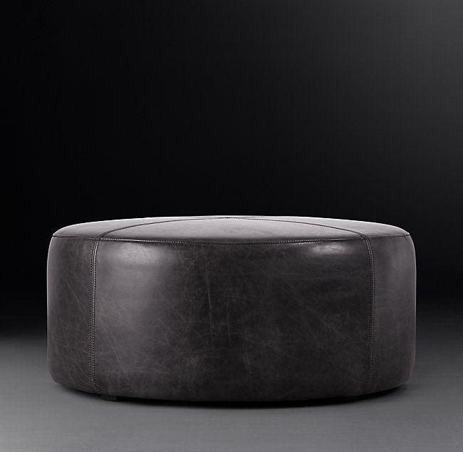 "36"" Cooper Leather Round Ottoman"