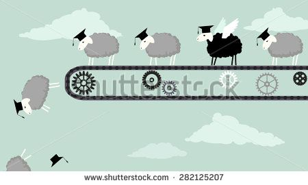Sheep in academic graduation caps riding a conveyor belt and obediently falling into the abyss, one black sheep with wings ready to fly, vector illustration, EPS 8