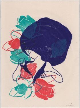 Printemps Evelyne Mary Linogravure