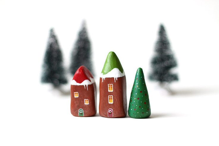 Christmas clay houses Little winter village with 2 by rodica