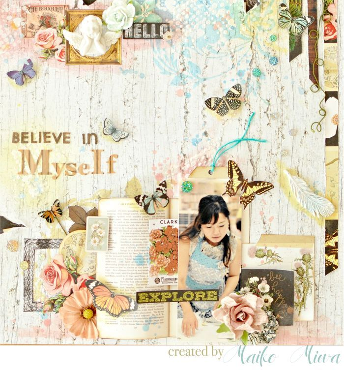 "What if a sketch is not really ""your"" style? Well, Maiko certainly felt that way, but she pushed herself and look at the beautiful layout she created! ""This is not my style, but I love it in the end. I had a fun time using color bloom and modeling paste! I imaged my thought in this: ""Every cloud has a silver lining. Believe in myself...my dream will come true!"" ~Maiko #BAP #layouts #beautiful #new"