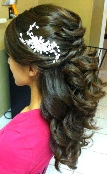 bridal hairstyles half up half down with flower - Google Search
