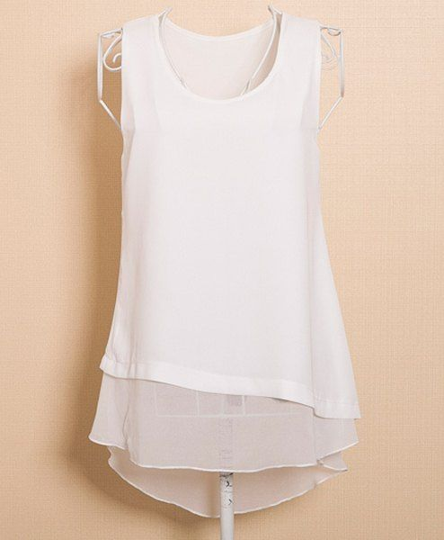 Stylish Women's Scoop Neck Faux Twinset Design Sleeveless Blouse