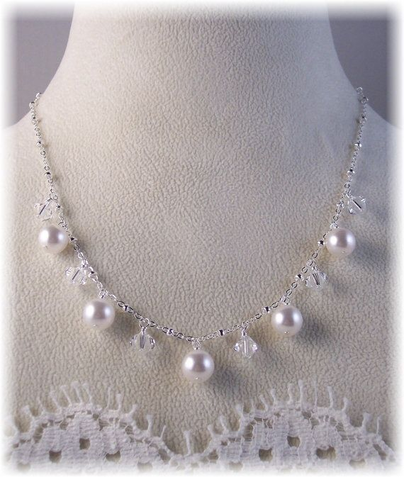 New w/Swarovski Clear Crystal And White Pearl Dangle Necklace #HisJewelsCreationsDesigns #Statement