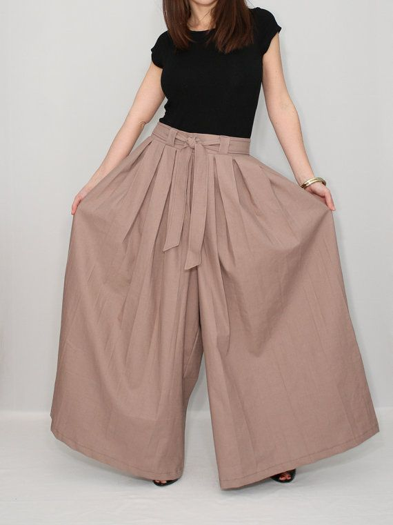 Wide leg Linen pants Taupe pants Palazzo pant skirt by KSclothing, $44.00