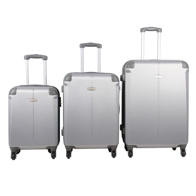Conjunto de Malas de Viagem em ABS 3 Peças Prata Rodas 360 Graus << R$ 45590 em 9 vezes >>