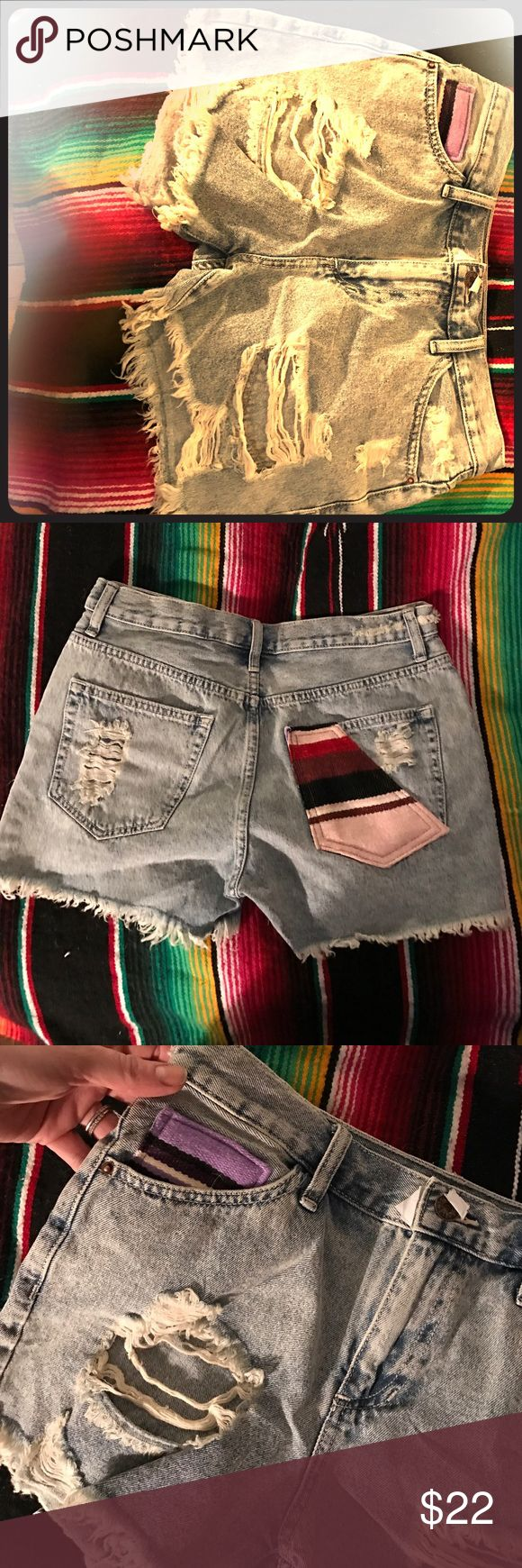 Your fav jean cutoffs w/serape Mexican patches Gorgeous semi hi waisted festival shorts! Distressed in all the right places. Old school meets new school with beautiful Mexican m serepe blanket detail on the small front pocket and back pocket. You'll love and live in these and these and they will go fast! NWOT SEE BUTTON Three Bird Nest Shorts Jean Shorts