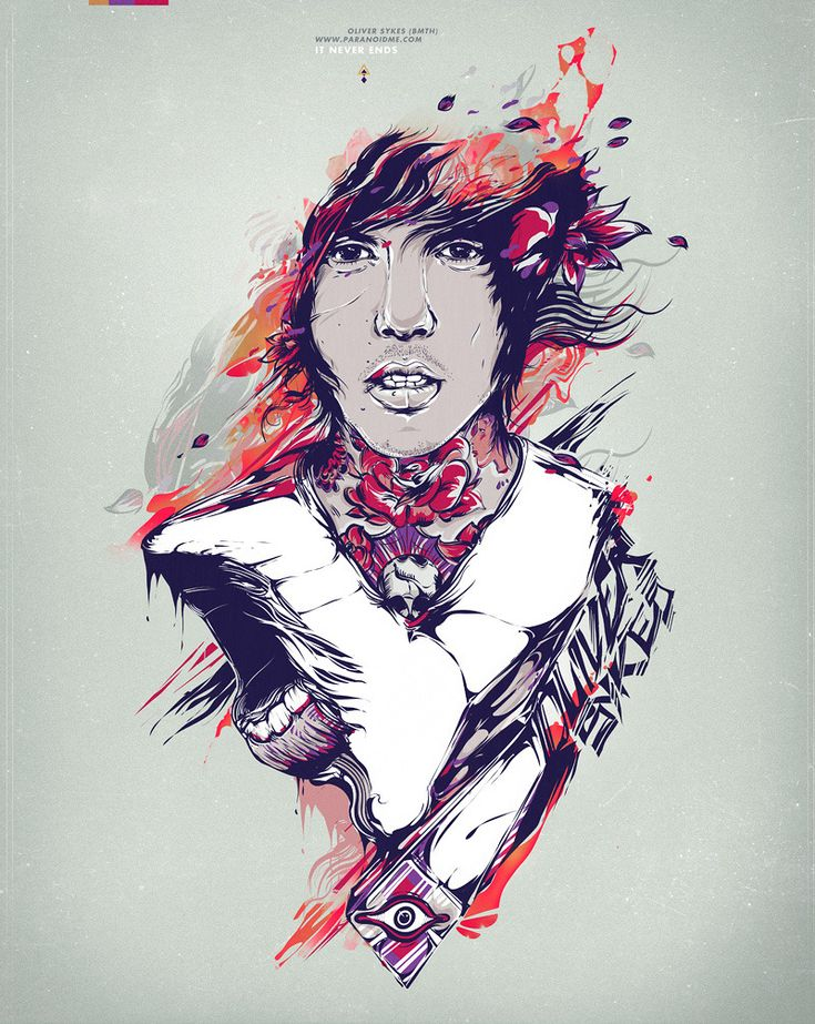 Portrait of the lead singer from the post-hardcore band Bring Me The Horizon, Oliver Sykes. - Diego L. Rodríguez