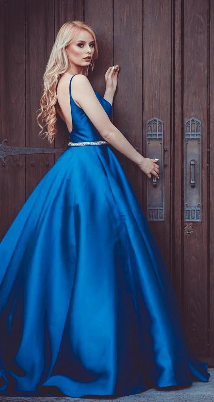 c444089e03c Princess Straps Blue Long Prom Dress Ball Gown from wendyhouse ...