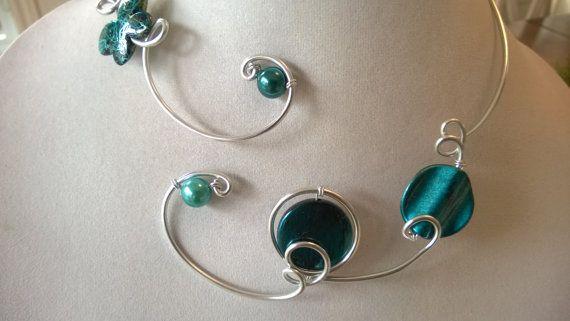 FREE GIFT Teal modern necklace  Aluminium by LesBijouxLibellule