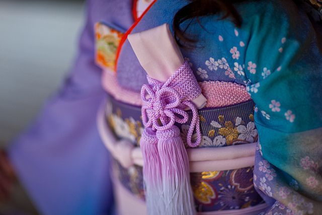 kimono details. Love this because these are not common colors in kimono.