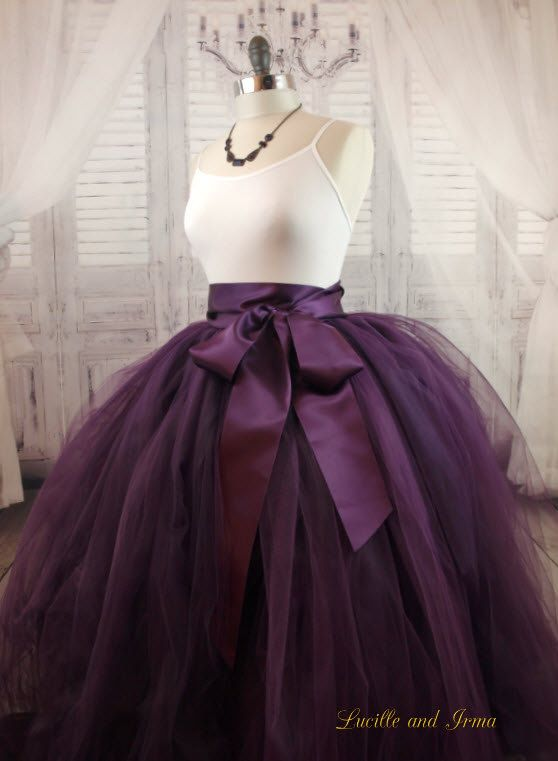 Eggplant Tulle Skirt Wedding Skirt Sewn Tutu by LBIaccessories