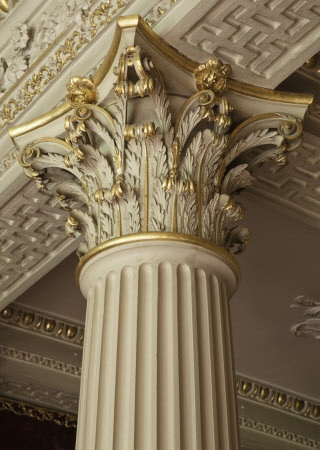 Detail of a Corinthian capital to a column by Robert Adam in the Velvet Drawing Room at Saltram, Devon