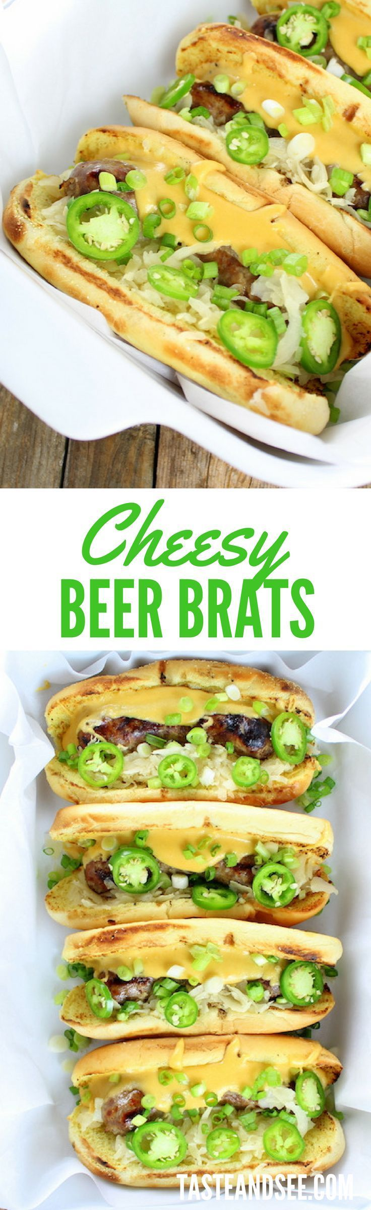 Cheesy Beer Brats w/ Fried Pickles- topped with cheesy sauce, sauerkraut, & Sriracha ketchup.  http://tasteandsee.com
