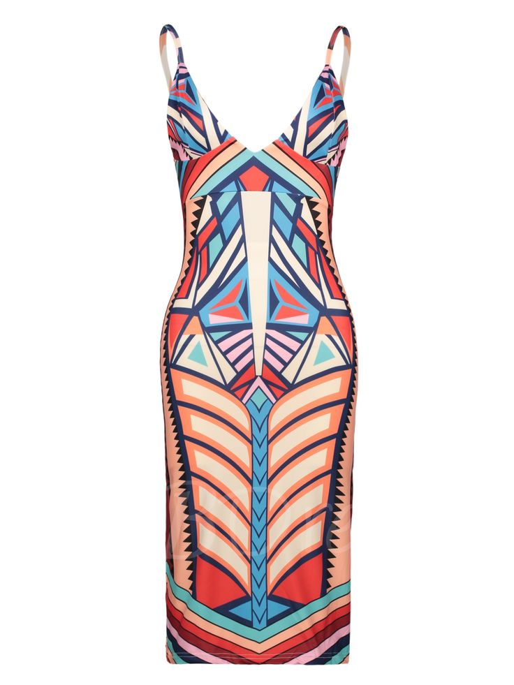 Tbdress.com offers high quality Color Block Geometric Pattern Vacation Women's Bodycon Dress Bodycon Dresses unit price of $ 16.99.