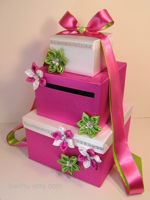 Awesome Hot Pink and Lime Wedding Card Holder by bwithustudio on Etsy. <3