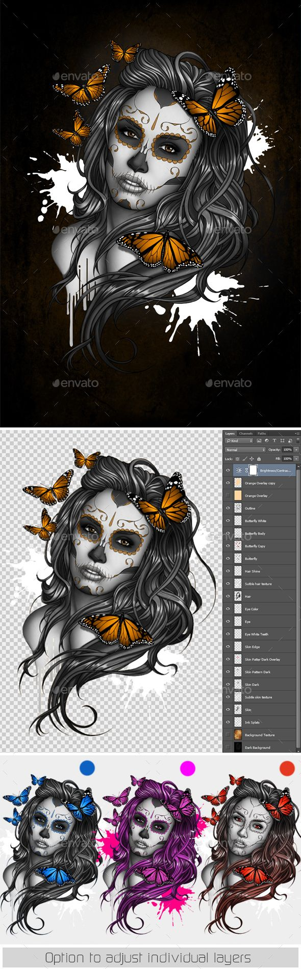 Sugar Skull Girl Tattoo by bomazu Tattoo Inspired Day of the Dead Sugar Skull Girl Illustration. Layered Photoshop File allowing easy layer colour adjustments. Art