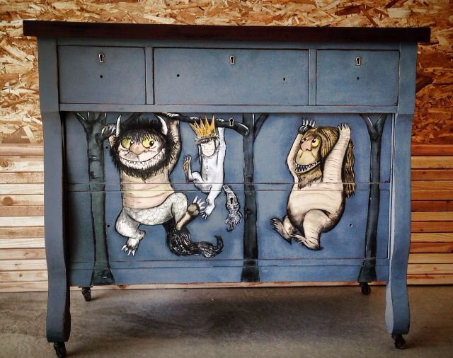 Where The Wild Things Are Dresser Painted Freehand By Andrea Duffy Acrylic Charcoal