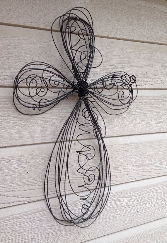 Medium Swirls and Twirls Twisted Wire Cross by buttonblingthings, $30.00